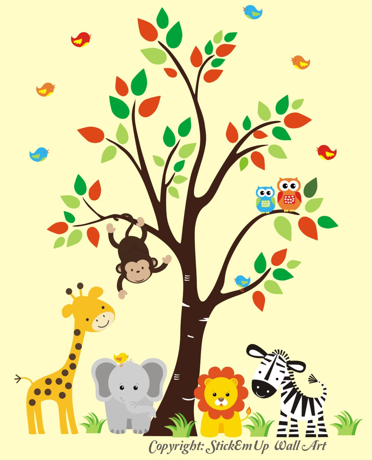 Nursery Wall Decal Jungle Wall Decal Tree Wall by StickEmUpWallArt ...