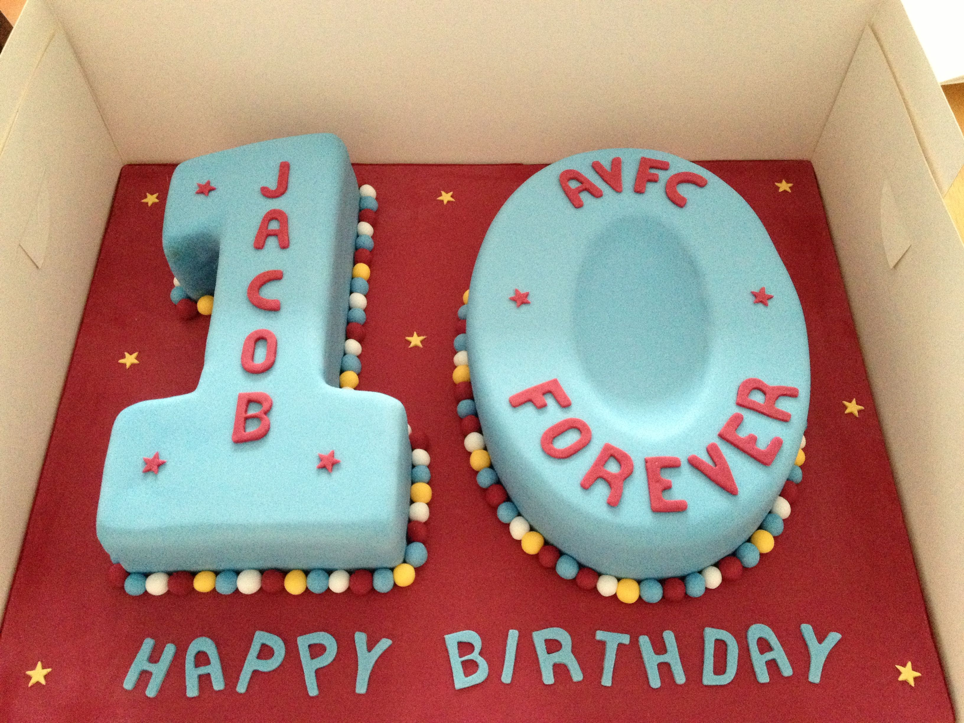 Number 10 Cake In Aston Villa Colours