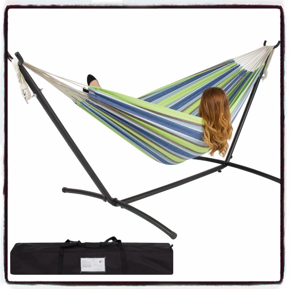 Details about double hammock with space saving steel stand heavy