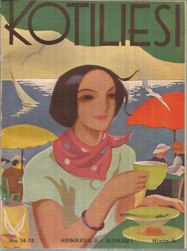 """Kotiliesi"" vintage Finnish magazine (July/August 1936 issue) - Cover illustration by Finnish illustrator Martta Wendelin (1893-1986)"