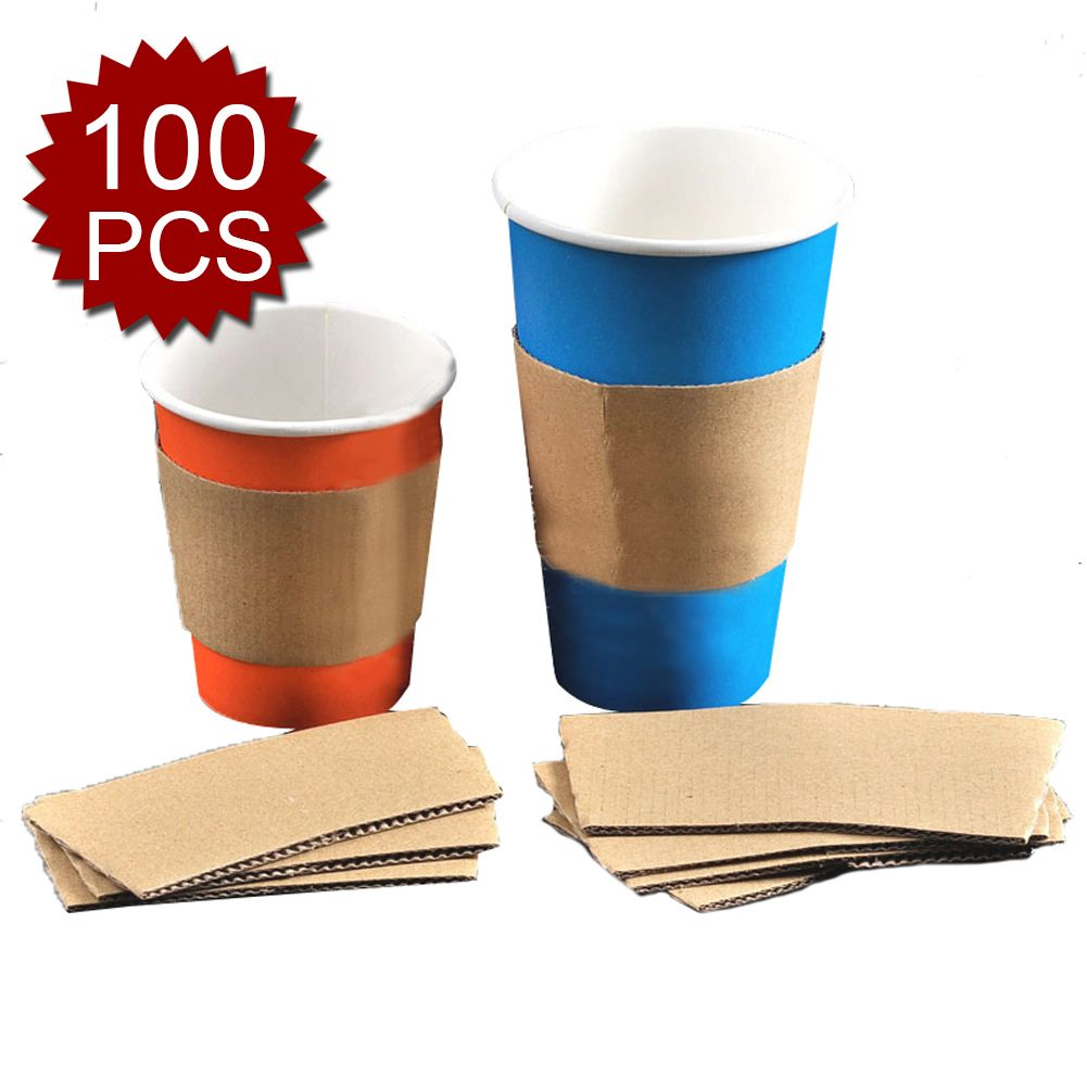Aspire 100 pcs disposable cup sleeves kraft paper coffee