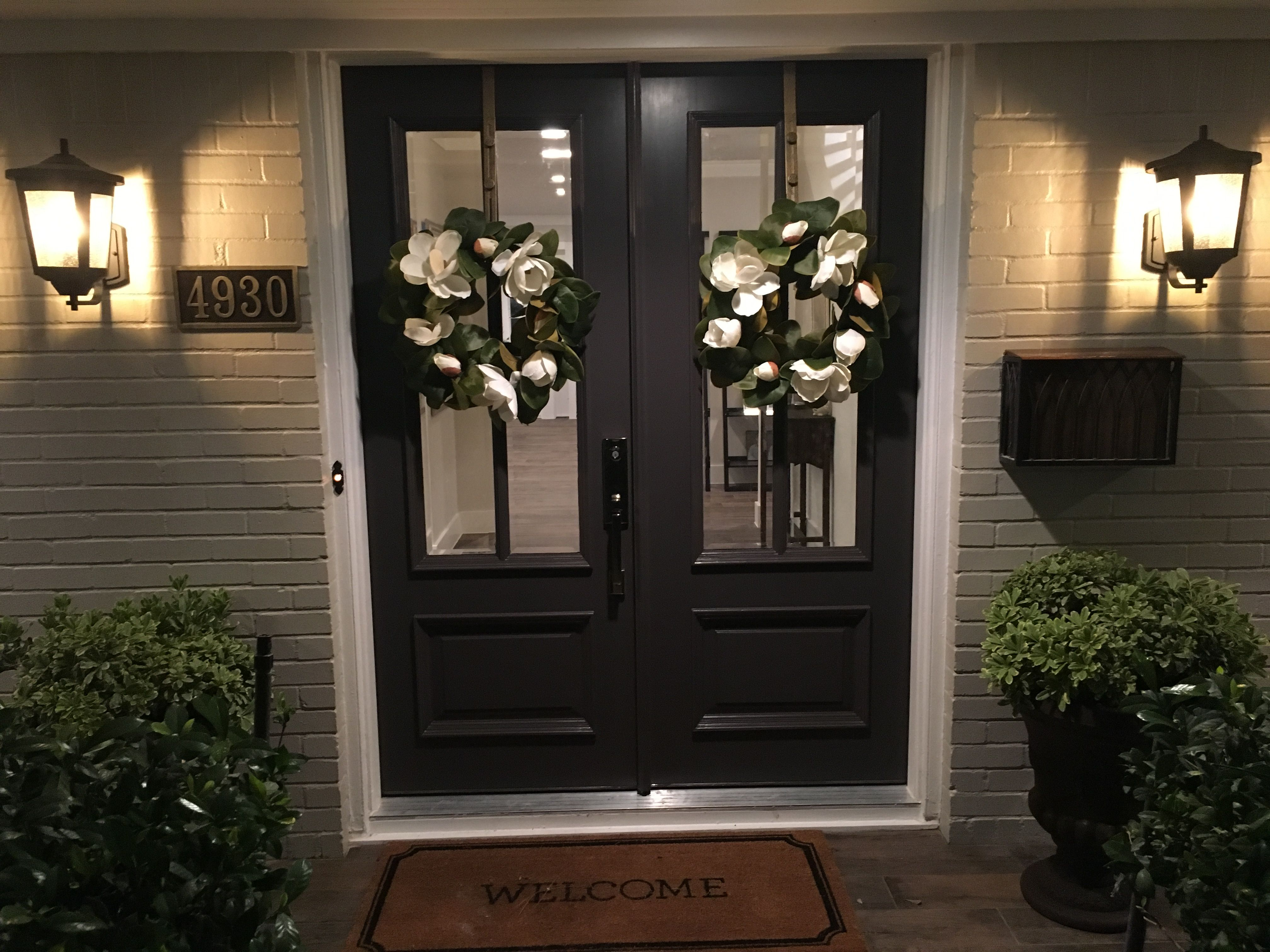 Modern farmhouse double front doors Benjamin Moore Iron Mountain