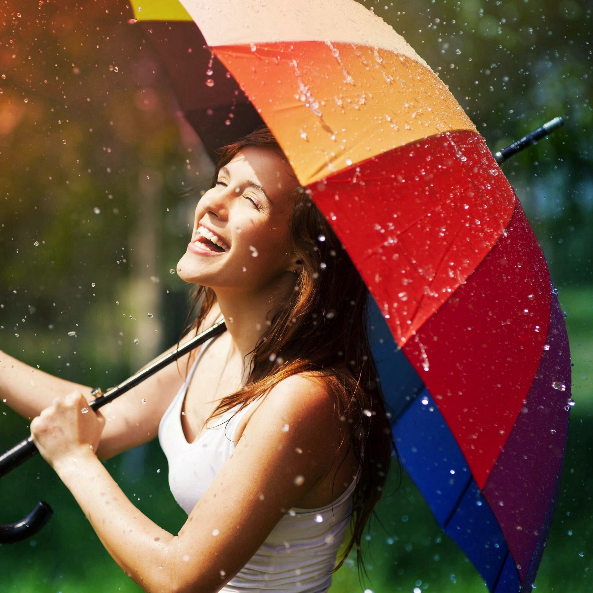 Rain umbrella drops falling photography girl
