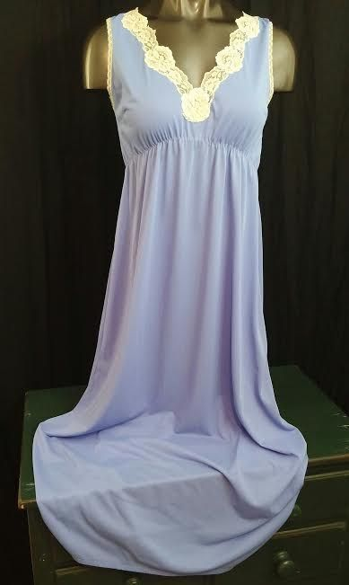 Vintage lingerie full length long nightgown blue lace sleeveless silky nylon L #Unbranded