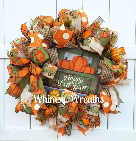 Fall Wreath, Fall Truck Wreath, Pumpkin Wreath, Pu