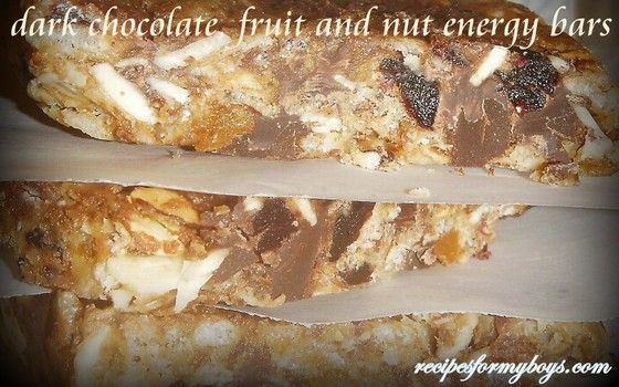 Dark Chocolate, Fruit  and Nut Energy Bars