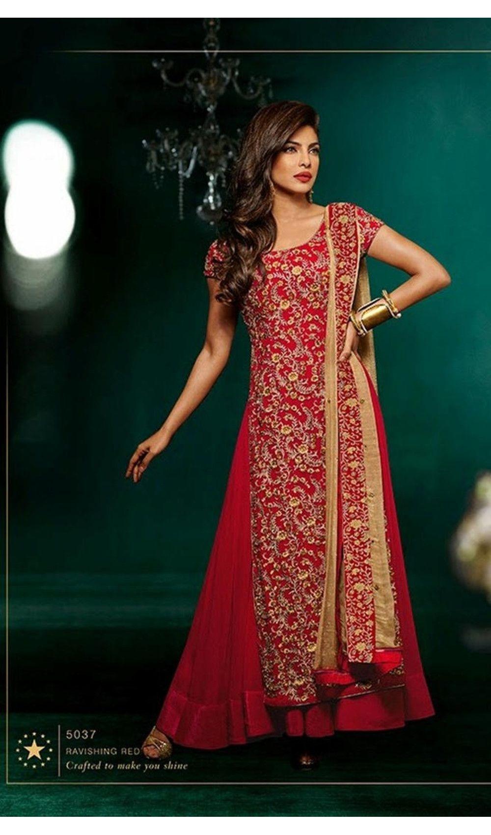 f7b243fb57 Delightful Red Priyanka Chopra Georgette Anarkali Style Suits ...