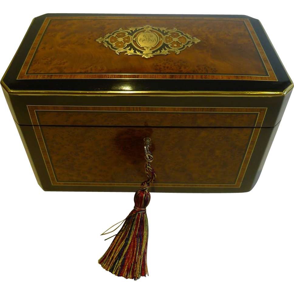Stunning Inlaid French Burr Cedar Tea Caddy - Brass Mounted c.1860
