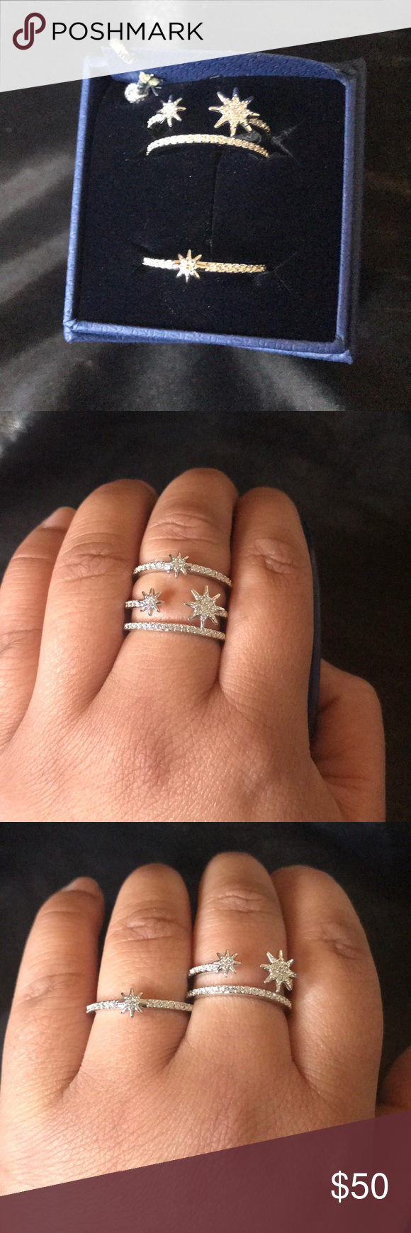 Swarovski Fizzy ring set Perfect for the Fourth of July! Two rhodium-plated  rings with white crystal pavé. Can be worn separately 49b8792aba