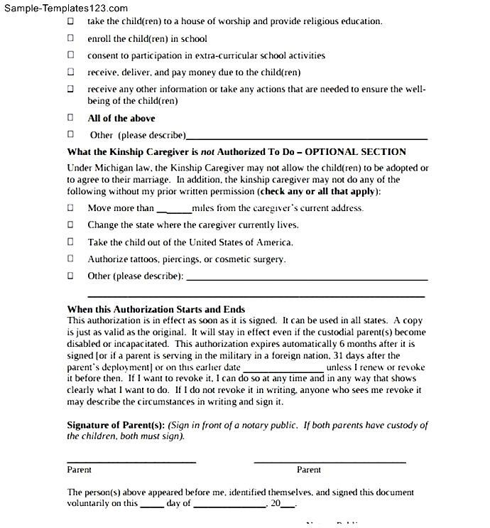 Temporary Childcare Authorization Letter Sample Templates Minor