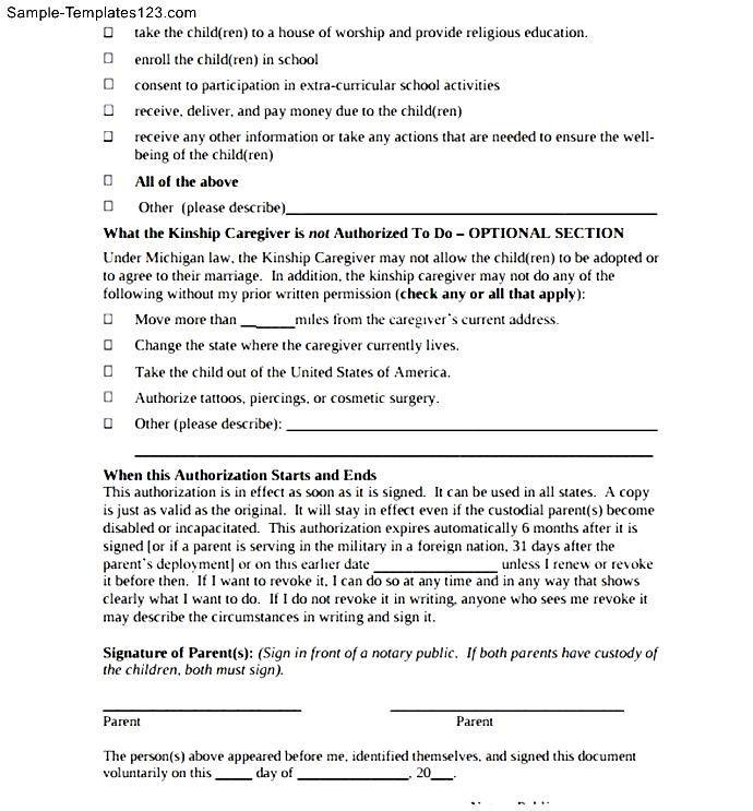 Temporary Childcare Authorization Letter Sample Templates Lettermple Child Care Form