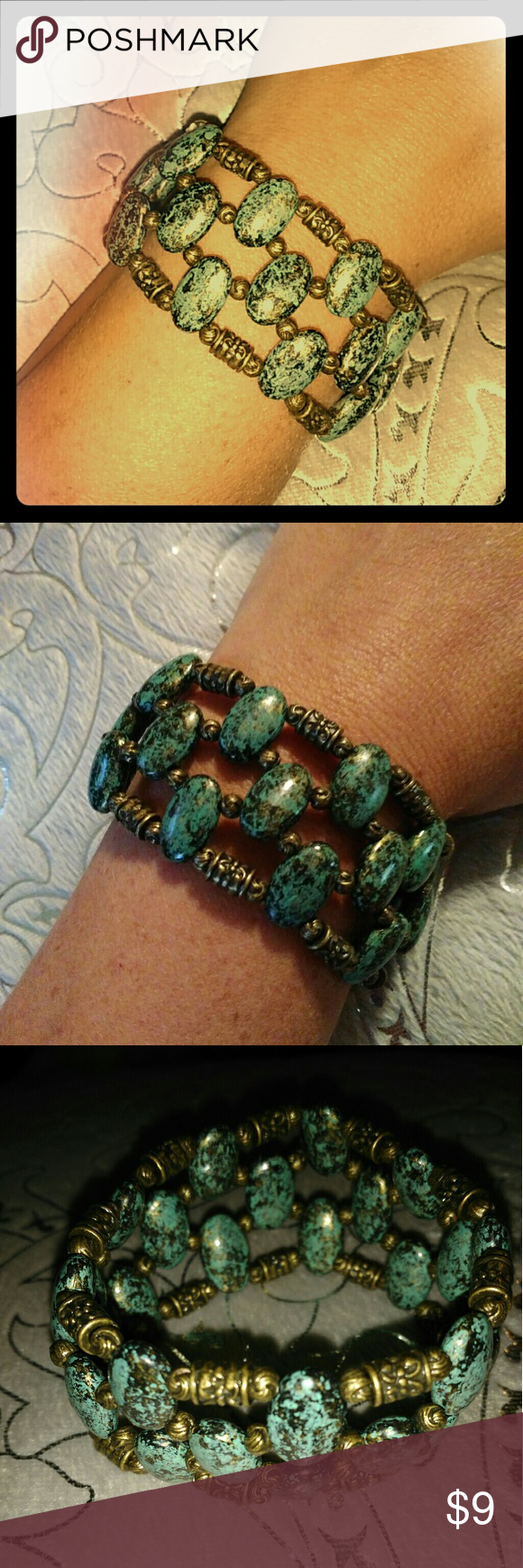Turquoise Noblesse Collection Bracelet Beautiful piece! Stretches to fit any wrist size. Easily slide on. Looks great dressed up with your favorite Sunday dress or sexy up your favorite swimsuit. Jewelry Bracelets