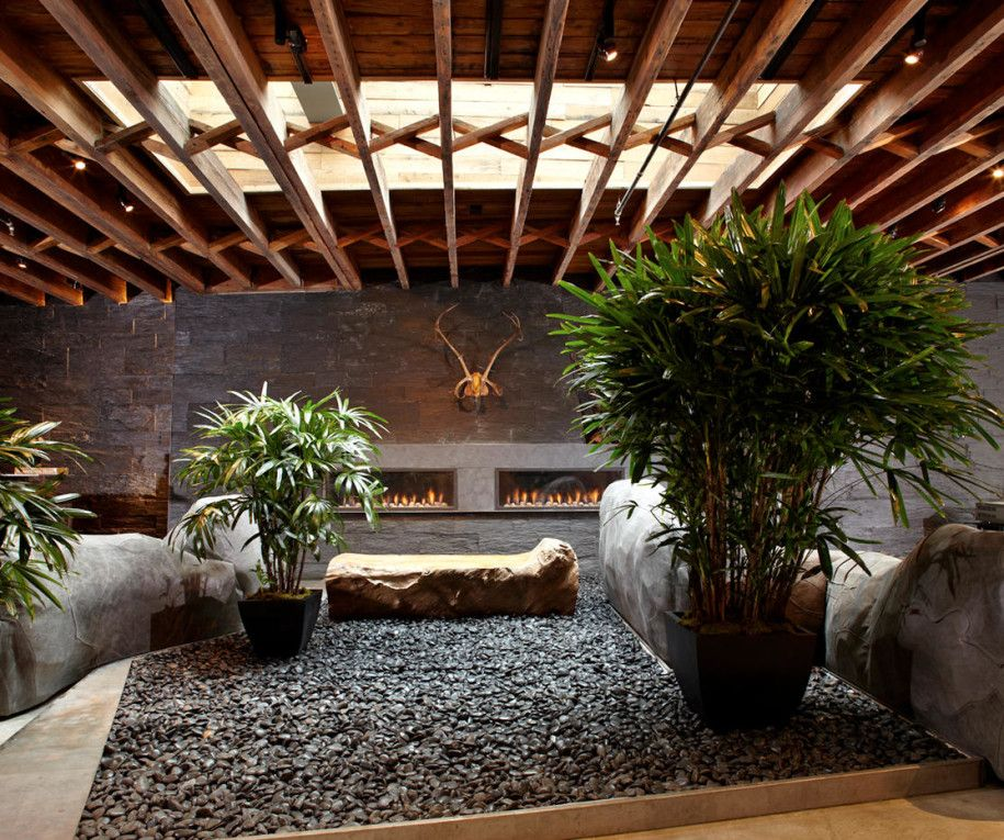 Elegant Decoration, Indoor Home Garden Plants With Gravel Base Artificial Stone  Wooden Ceiling Flower Pot And Gallery