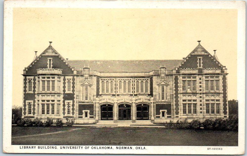 "University of Oklahoma Postcard ""LIBRARY BUILDING"" Curteich c1930s Unused Norman"