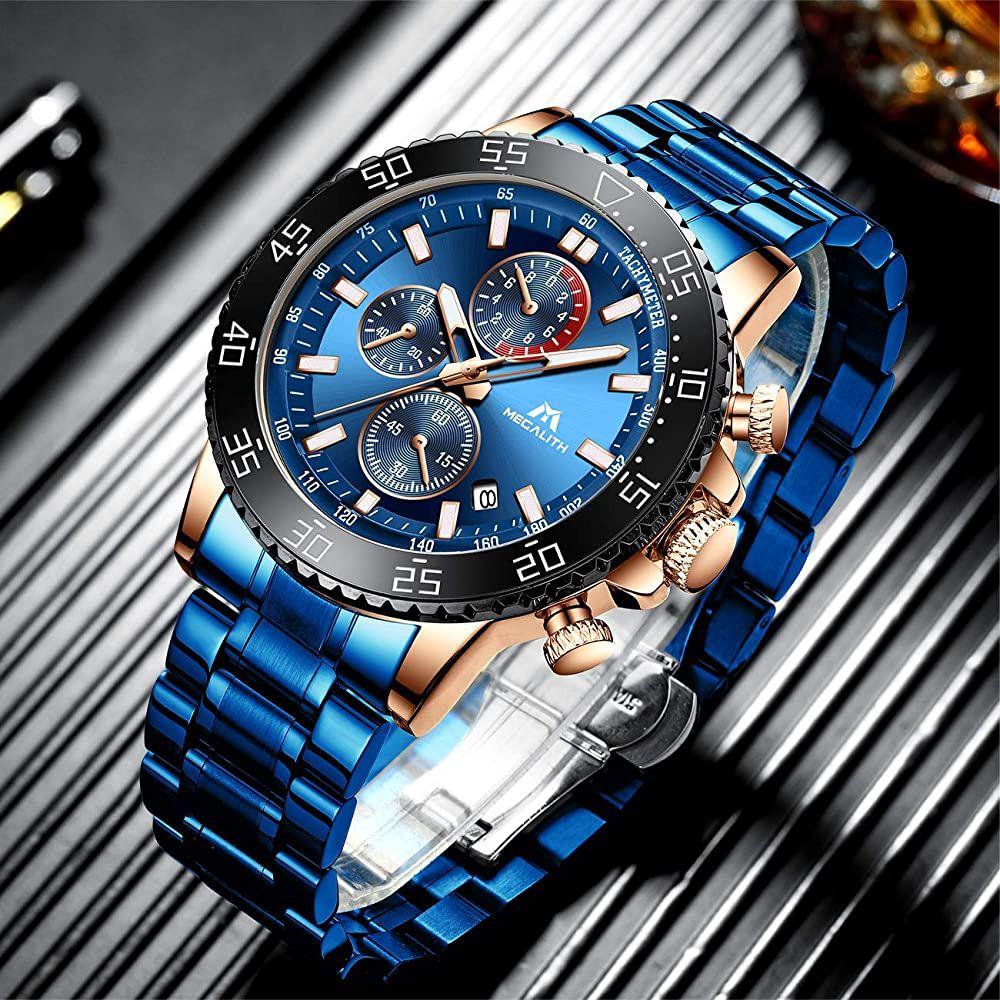 Megalith Relojes Hombre Relojes Grandes De Pulsera Militares Cronografo Disenador Luminosos Imper En 2020 Reloj De Hombre Relojes De Lujo Para Hombres Relojes Modernos