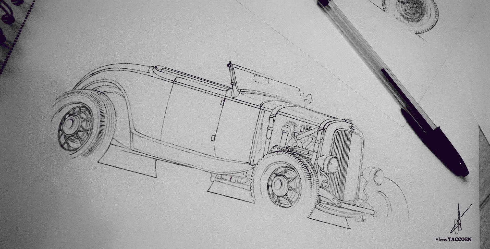 Artstation roadster hot rod alexis taccoen illustration