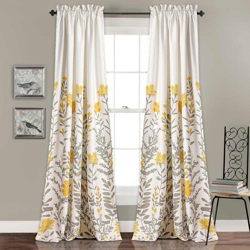 Lush Decor Aprile Window Panels Yellow 84 In X 52 In Panel Curtains Room Darkening Curtains Room Darkening