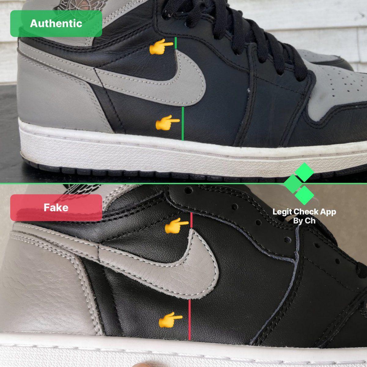 Step 6 Fake vs real Air Jordan 1 Shadow Nike Swoosh logo