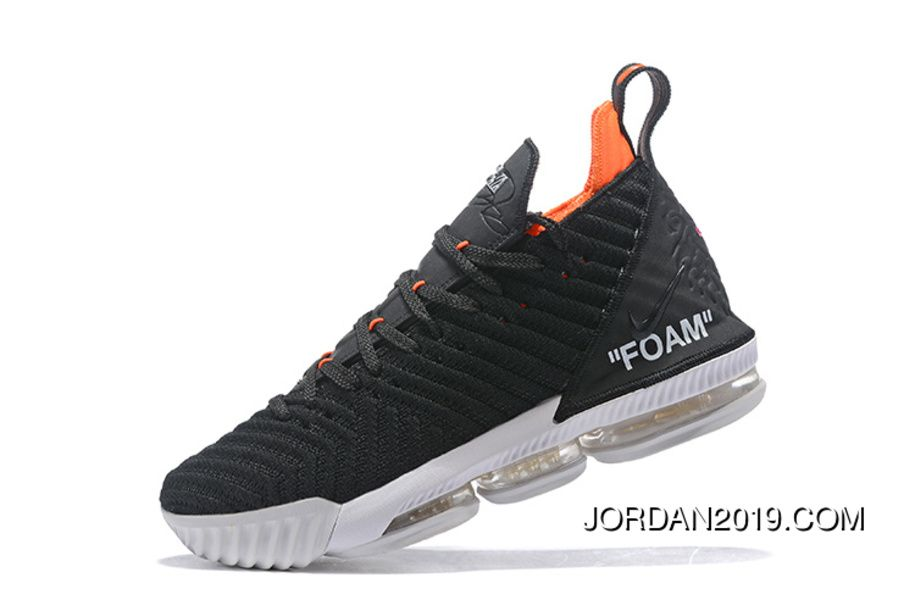bd7809d2984 2018 Off-White X Nike Lebron 16 Black White Orange Womens Mens Basketball  Shoes New Style