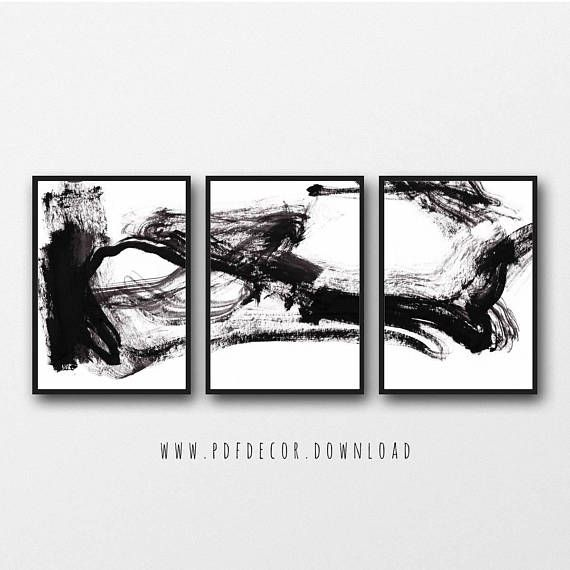 Set of 3 black white abstract prints set of 3 prints abstract wall art black white art minimalist art set of 3 abstract brush stroke abstract print
