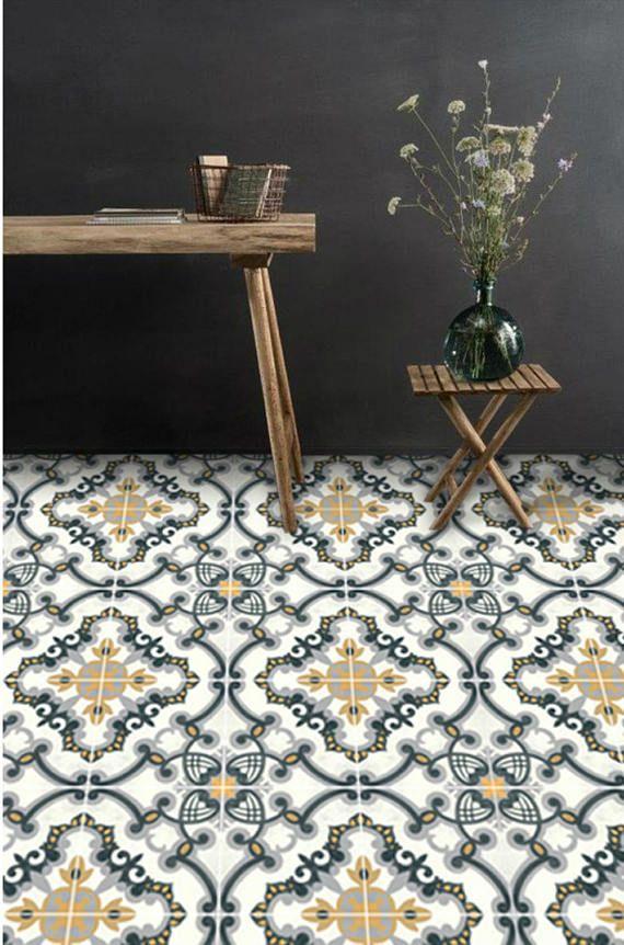 Sticker Sol Carreau Vinyle Medicis Europeen Charbon Ocre Floor