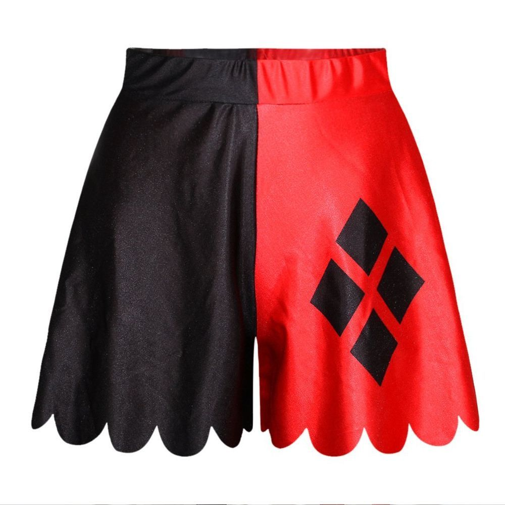 batman black red harley quinn high waist culottes pantskirt