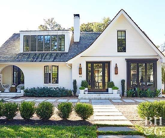 Best White House Exterior With Charcoal Roof Modern Farmhouse Exterior House Exterior 400 x 300