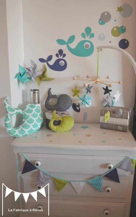 décoration chambre enfant bébé garçon vert anis turquoise blanc gris