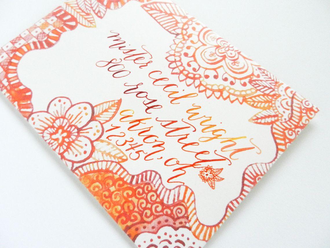 Watercolor Henna Envelope Template