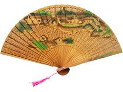 Chinese hand painted wooden fan