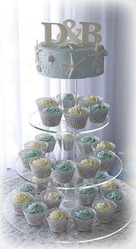Sea Star Beach Theme Wedding Cake And Cupcake Tower Beach Theme