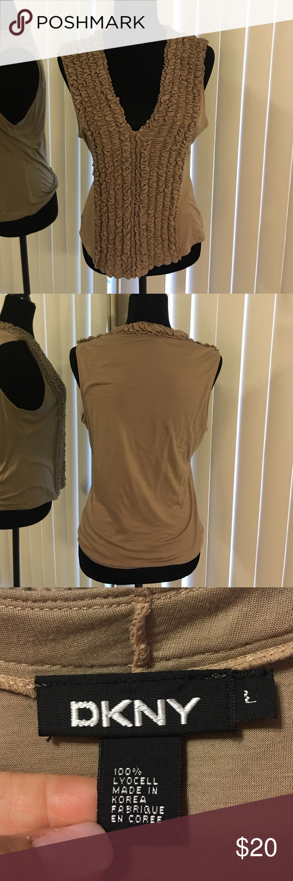 DKNY tan sleeveless knit  blouse💎 DKNY tan sleeveless knit  blouse - great detailing on the front looks great on its own during summer or with a jacket in the fall! This is a reposh- the blouse is a little short for my body. DKNY Tops Tank Tops
