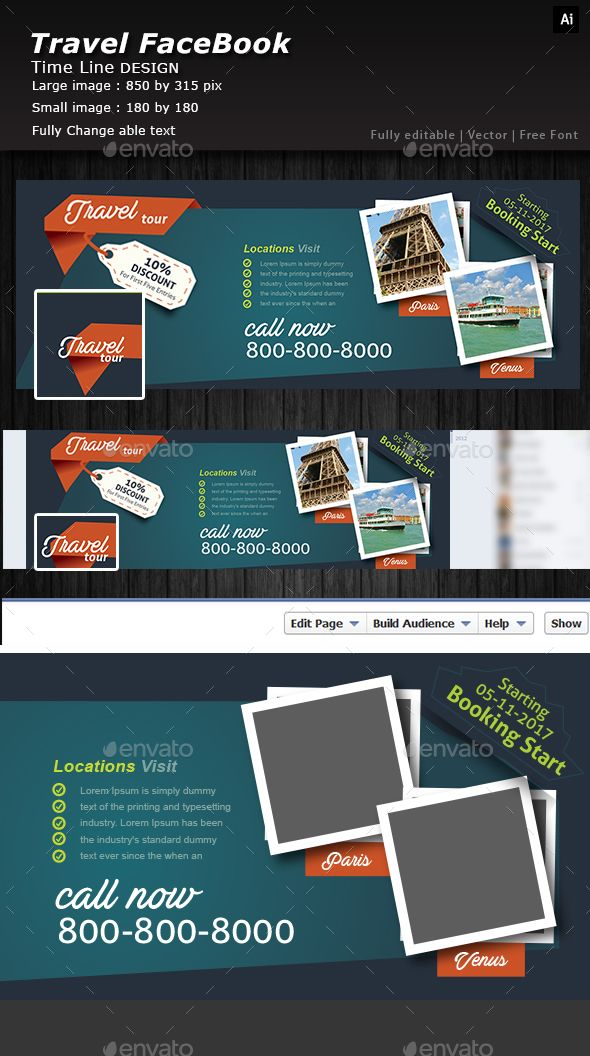 Traveling Facebook Cover Timeline Illustrators And Fonts - Facebook ad template illustrator