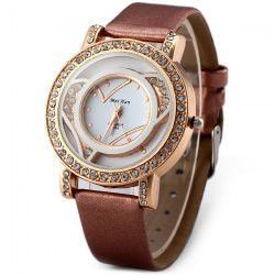 MeiHan A005 Ladies Quartz Watch Diamond Round Dial Leather Strap
