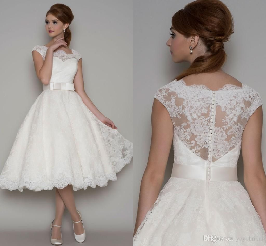 Short Sleeve Simple Wedding Dress: Short Wedding Dresses,Tea Length Wedding Dress, Lace