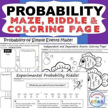 Probability Maze Riddle Color By Number Coloring Page Fun Math