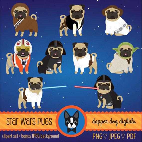 Pug Clipart Star Wars Set Commercial Use Vector Images Digital