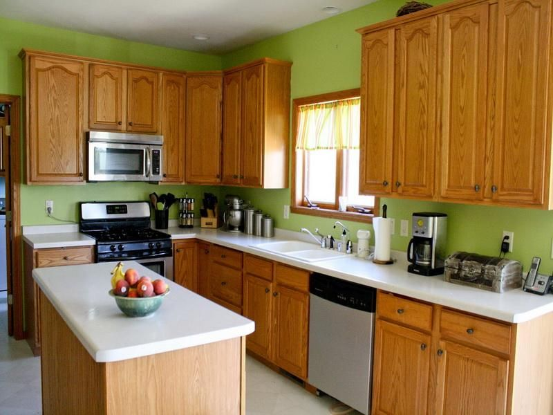 Green Kitchen Paint Colors With White Table Interior Design   GiesenDesign