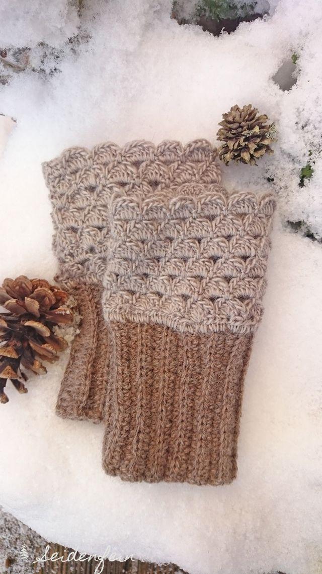 Weich und warm für kalte Wintertage : gehäkelte Stulpen * cosy and warm for cold winter days : mittens (seidenfein 's Dekoblog)