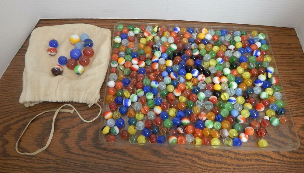 346 Vtg 1950s 1960s Glass Marbles 10 Shooters Cotton Drawstring Bag Unbranded Cotton Drawstring Bags Glass Marbles Marble Toys