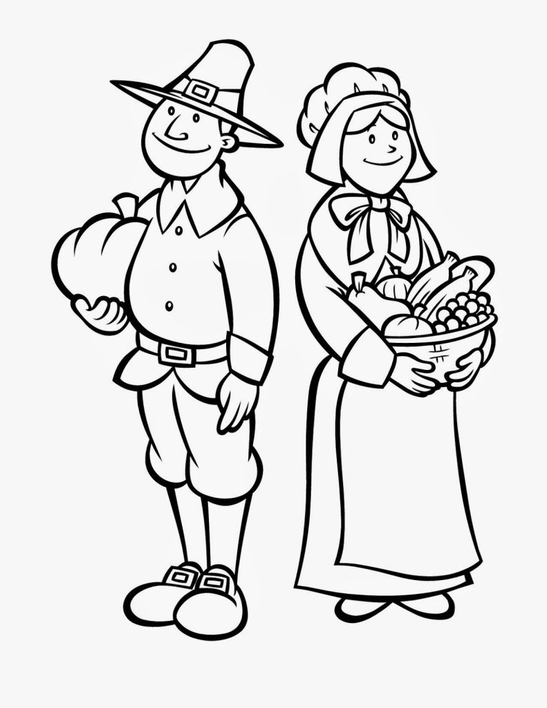 thanksgiving coloring pages printables pilgrims | Coloring Pages ...