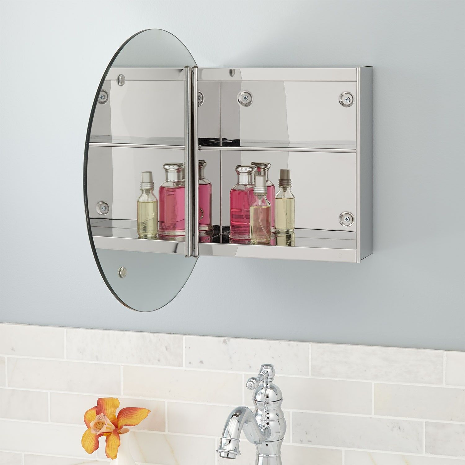 Showcase Series Stainless Steel Medicine Cabinet with Round Mirror ...