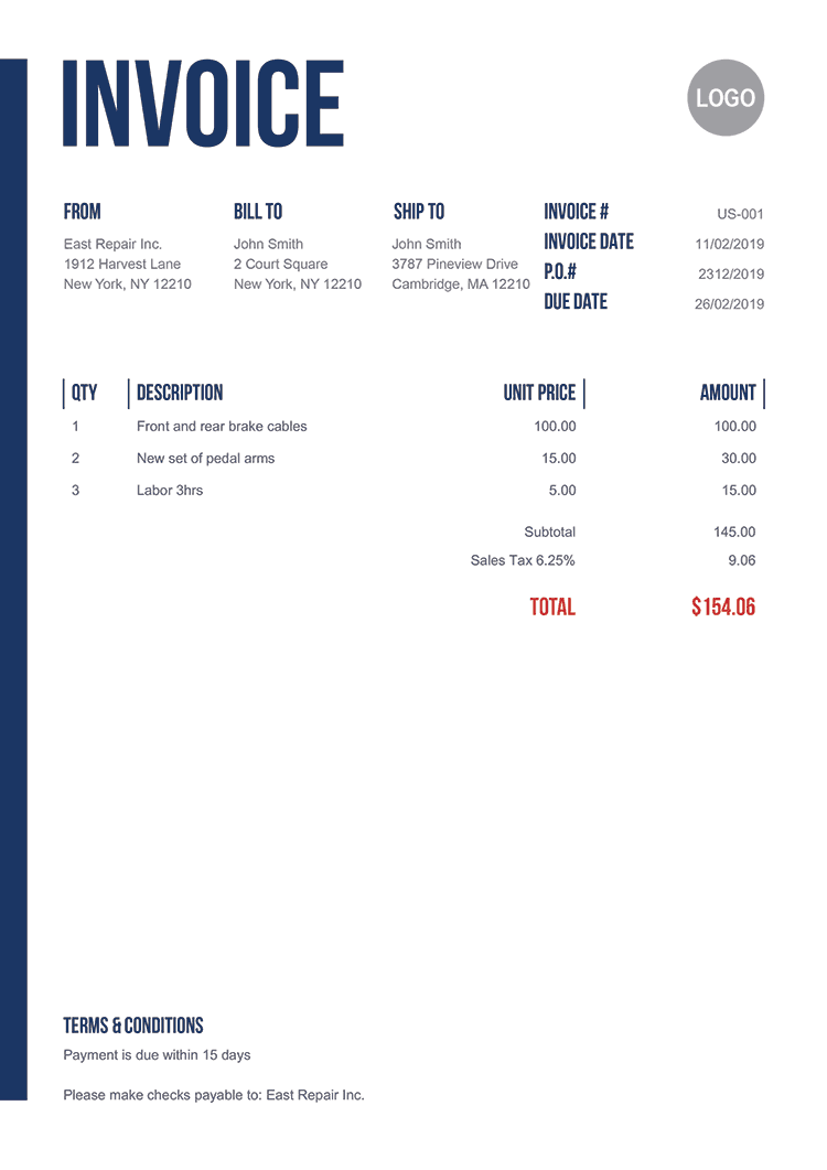 Invoice Template Us Slim In 2020 Invoice Template Business Promo Free Receipt Template