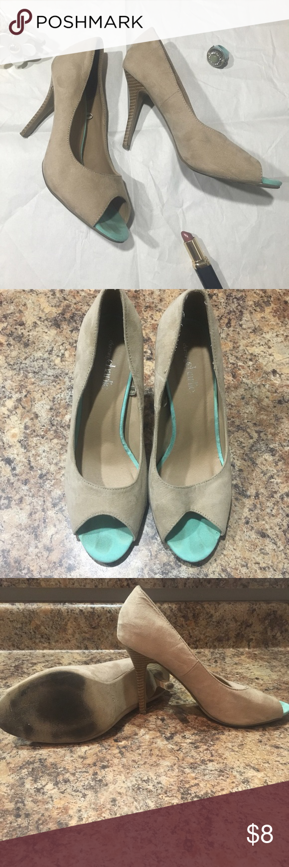 Charming Charlie • Tan & Blue Peep Toe Heels This is a pair of Charming Charlie Tan & Blue Peep Toe. Great Heels for the summer. Has a turquoise color on the inside of the heel that shows through the peep toe. Comfortable and good condition. Size 9. Charming Charlie Shoes Heels