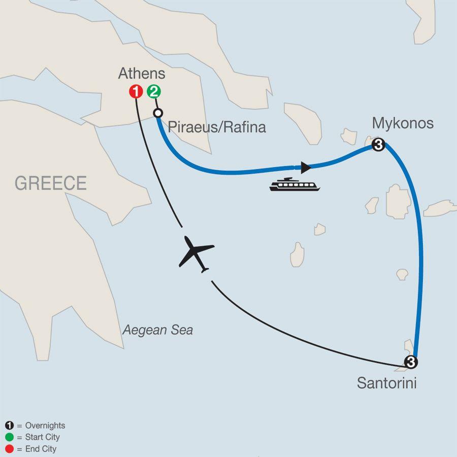 Athens Mykonos Santorini itinerary Greek Island Hopper Globus