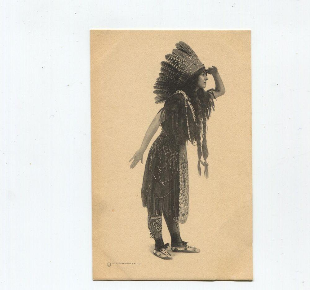 Full Length Indian Maiden, elaborate headdress Parkinson Art Co ...