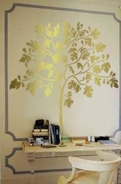 Golden Tree Wall Stencils Diy Stencils Wall Wall Stencil Patterns