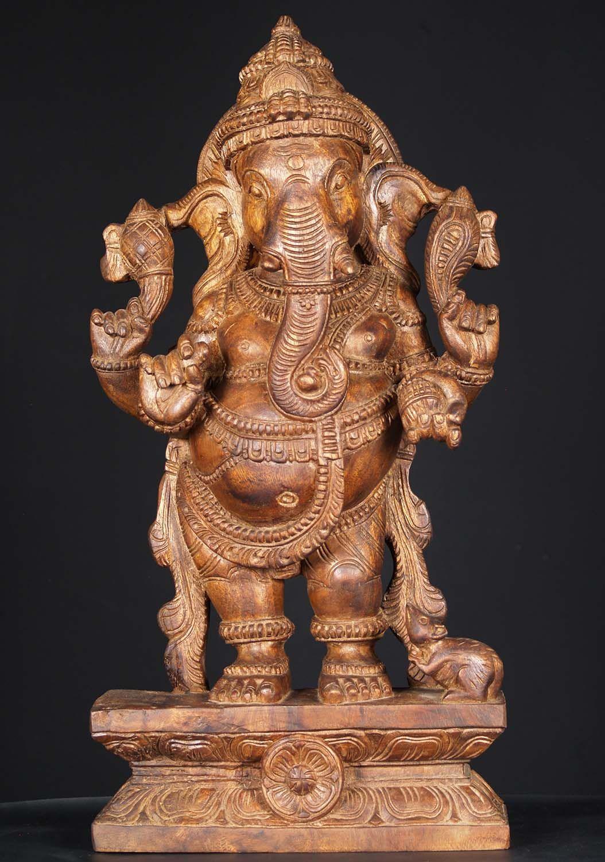 "View the Wood Standing Ganesh Statue 24"" at Hindu Gods"