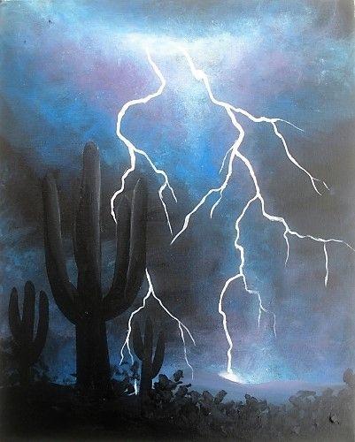 Desert Lightning Paint Nite Painting Paint Nite