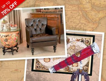This Columbus Day, celebrate exploration ardor and wanderlust, and let these vintage-inspired elements and Old World styles craft your space into something special and unique. Try a turned leg, wood and cast iron console and top it with a rustic globe or model ship. Bring a bare wall to life with an antique map, or create a nautical nook with a wood ship wheel.